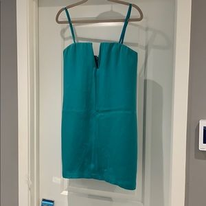 Aqua strapless cocktail dress